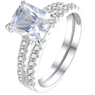 1.8ct Radiant White CZ 925 Sterling Silver Wedding Band Engagement Ring Set 5-10