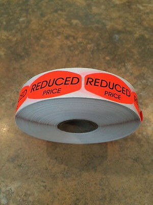 "1.25"" x .625"" REDUCED PRICE MERCHANDISE LABELS 1000 PER ROLL  BLACK STICKER"