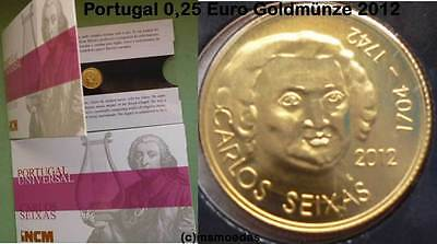 Portugal 0,25 Euro Gold Münze 2012 Euromünze commemorative Carlos Seixas FDC