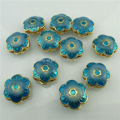 18550 2pcs Fresh Gold Enamel Blue Flower Spacer Beads Cloisonne for Bracelet