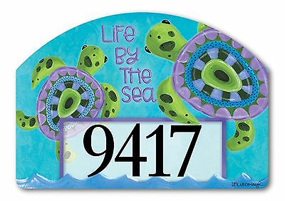 Turtle by the Sea Summer Magnetic Yard DeSigns Insert Nautical Address Marker