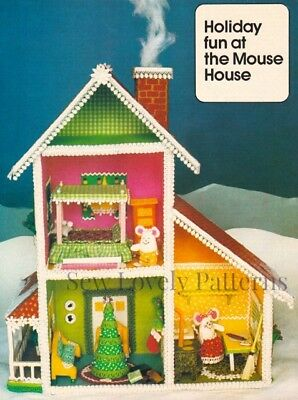 Vintage Miniature Toy Stuffed Rag Doll House Pattern Mouse Christmas Holiday