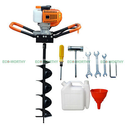 """1.8KW 52cc Power Engine Gas Powered One Man Post Hole Digger 8"""" Auger Bits"""