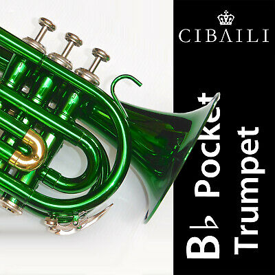 Green Bb POCKET TRUMPET • High Quality •  Brand New • With Case •