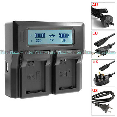 LCD Dual 2-Battery Charger For Sony NP-FW50 A5100 A6000 A7R A7S A7 II NEX7 AC/DC