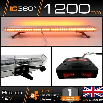 LED 1200mm (1.2m) Narrow Amber Lightbar | Strobe | Recovery Warning | Bolt Mount