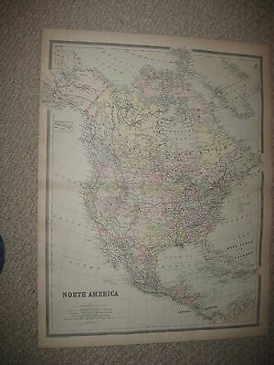 Huge Gorgeous Antique 1894 North America Handcolored Map United States Canada Nr