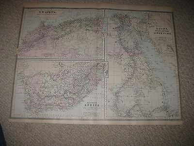 Huge Gorgeous Antique 1894 South & North Africa Egypt Handcolored Map Nubia Nr