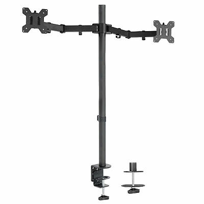 "Dual Monitor Desk Mount Extra Tall Fully Adjustable Stand for up to 27"" Screens"