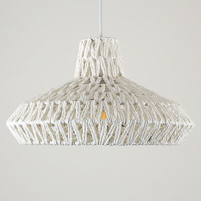 Contemporary White Woven Rope Ceiling Pendant Light Shade Lounge Lampshade Home