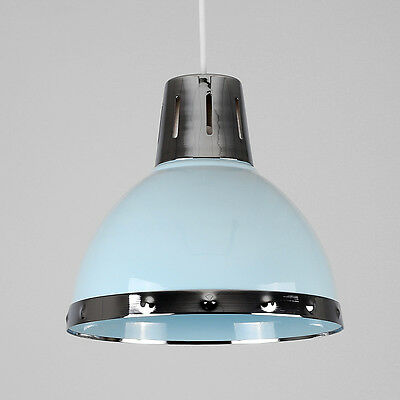 Contemporary Duck Egg Blue + Chrome Retro Kitchen Ceiling Pendant Light Shade