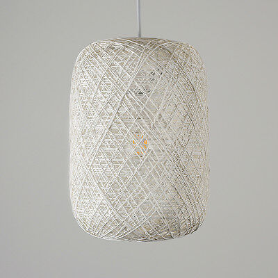 Contemporary Cylinder White Wicker / Rattan Ceiling Pendant Light Shade Lighting