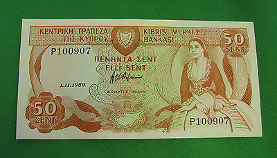50 cent Central bank of Cyprus p 52 1.11.1989 Banknote UNC