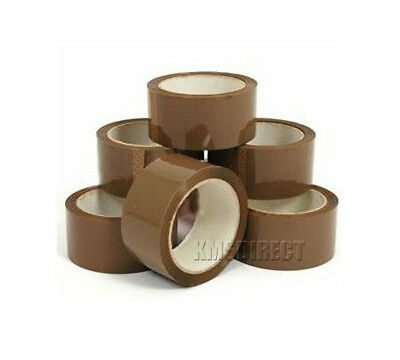 12 x 48mm x 66m Strong Brown Parcel Packing Tape Packaging Sealing 45 Micron