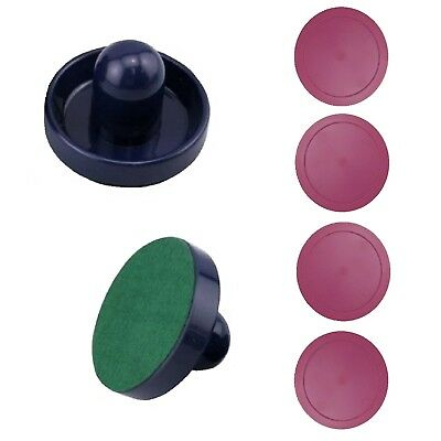 2 Blue Table Hockey Pushers + 4 Pink home Air Pucks (parts).