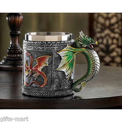medieval mug stainless steel cup royal winged serpent dragon handle statue