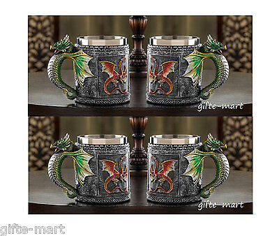 4 medieval mug stainless steel cup royal winged serpent dragon handle statue