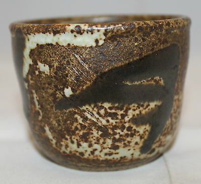 Signed By Artist Studio Art Pottery Small Dark Light Brown Bowl Cup 6cm 2 3/8""