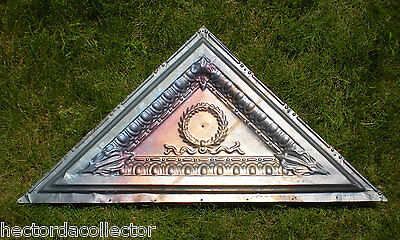 Antique Iridescent Victorian Ceiling Tin Tile Acanthus Wreath Egg Dart Crown