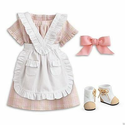 ADDY AMERICAN GIRL DOLL PLAID SUMMER DRESS w WHITE PINAFORE and BOOTS NRFB