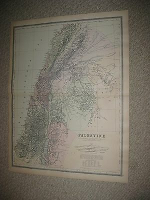 Huge Gorgeous Antique 1894 Palestine Israel Middle East Handcolor Map Jerusalem