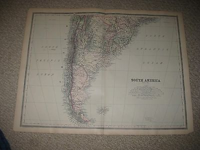 Huge Gorgeous Antique 1894 South Southern South America Handcolor Map Argentina