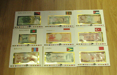 lot of 9 bank notes Wolrds UNC