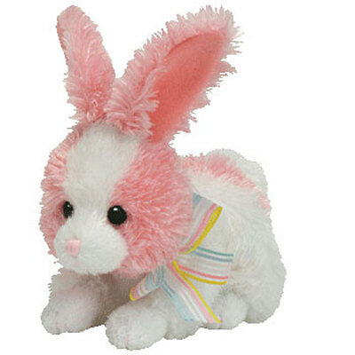 TY Basket Beanie Baby - PIPSY the Pink & White Bunny - RARE! - MWMT's