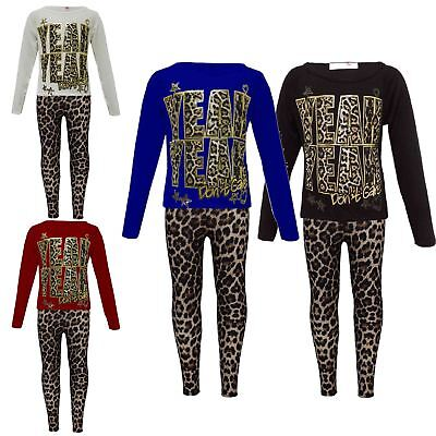 "New Girls ""YEAH YEAH"" Print Party Fashion Top T Shirt & Leopard Legging Set 7-13"
