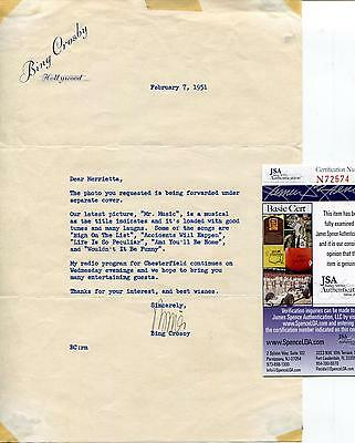Bing Crosby Actor Singer Crooner Signed Letter Autograph Jsa Authenticated