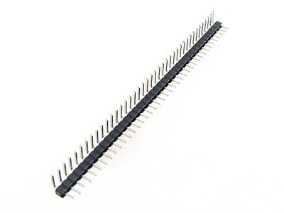 """40P 40-Pin 2.54mm 0.1"""" Male Header Right Angle - Black - Pack of 10"""