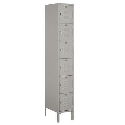 "Standard Metal Locker Six Tier Box Style 1 Wide 6' High 18"" Deep Gray 66168GY-U"