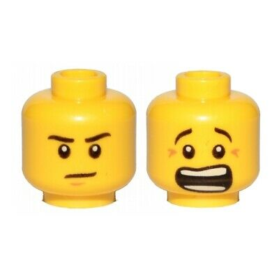 LEGO - Minifig, Head Brown Chin Dimple / Mouth Open Scared, Brown Crow's Feet