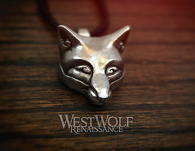 Silver Celtic Fox Head Pendant --- Norse/Viking/Wolf/Medieval/Jewelry/Necklace