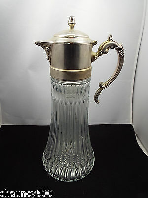 Vintage Molded Glass Wine Jug Pitcher w/ Silver Plated Lid & Spout w/ Ice Cooler