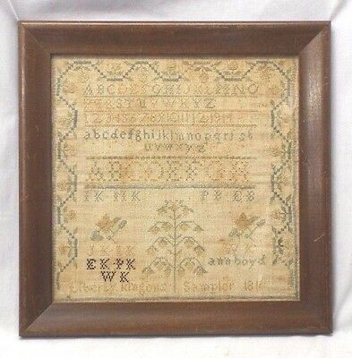EARLY 1811 RARE Antique FAMILY RECORD SAMPLER Liberty KLINGON Eberly Embroidery