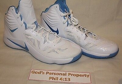 huge discount 4cca2 d1735 Nike Zoom Hyperfuse 2014 Basketball Shoes Carolina Blue White Mens Size 18  New