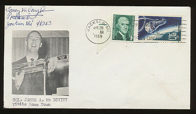 APOLLO Cover - James McDivitt at Home Town Jackson Michigan, signed Apr 20, 1960