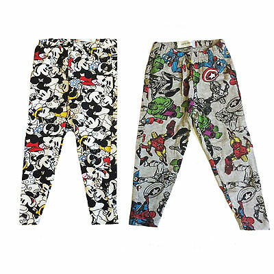 2 Pack Disney Baby Cotton Pyjama Bottoms Joggers Mickey Mouse Marvel Comics