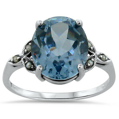 5.5 Ct Sim. Aquamarine Seed Pearl Antique Style .925 Silver Ring Size 7,   #198