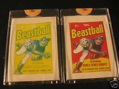1985 Topps Wacky Packages (2) Proof Beastball