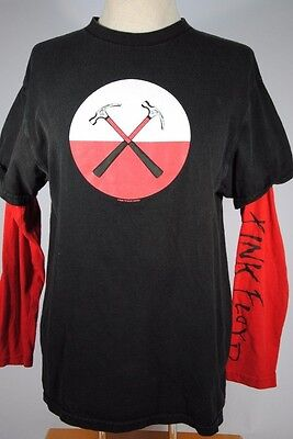 Pink Floyd The Wall Marching Hammers 2004 Tin Blue Double Sleeve Black Shirt MED