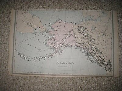 Large Gorgeous Antique 1894 Alaska Handcolored Map British Possessions Canada Nr