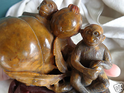 Antique Hand Carved Oriental Chinese Hardstone Soapstone Monkey Statue Figurine