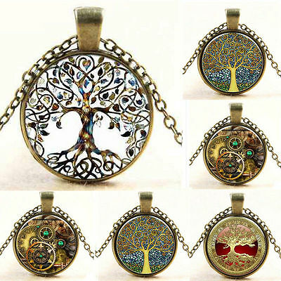 Fashion Steampunk Tree of Life Watch-Face Glass Art Pendant Chain Necklace Gift