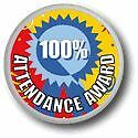 100% Attendance Award Metal Pin Badge with Brooch Fitting - Pack of 10