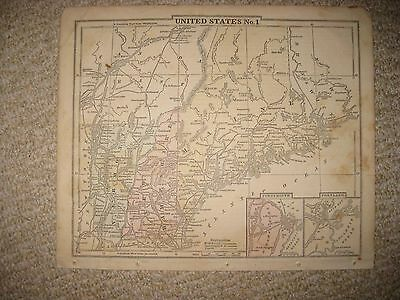 Antique 1859 Maine Vermont New Hampshire Handcolored Map Portsmouth Portland Nr