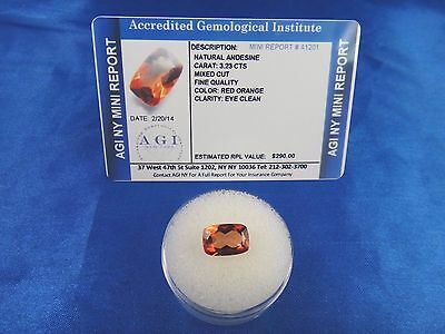 Natural Red Orange Andesine 3.23 Cts Certified Appraisal $290 AGI AN04
