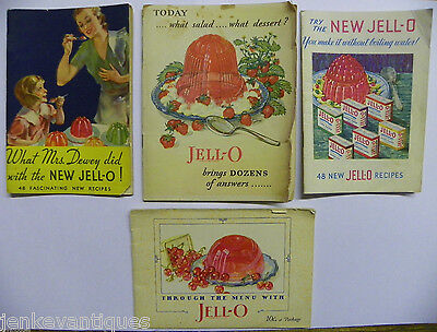 lot of 4 Vintage Jell-O Recipe Books through the menu booklets 1927-33