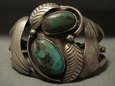 "Important Very Old Vintage Navajo """"green Bisbee Turquoise"""" Silver Bracelet"